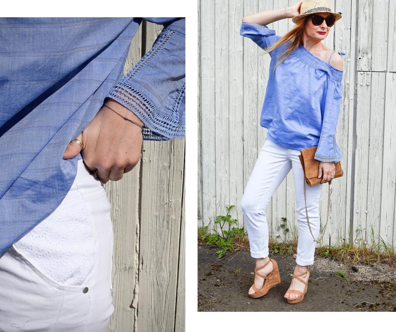 Tchibo, luftig und leger, weiße 7/8 Jeans, hellbaue Offshoulder Bluse