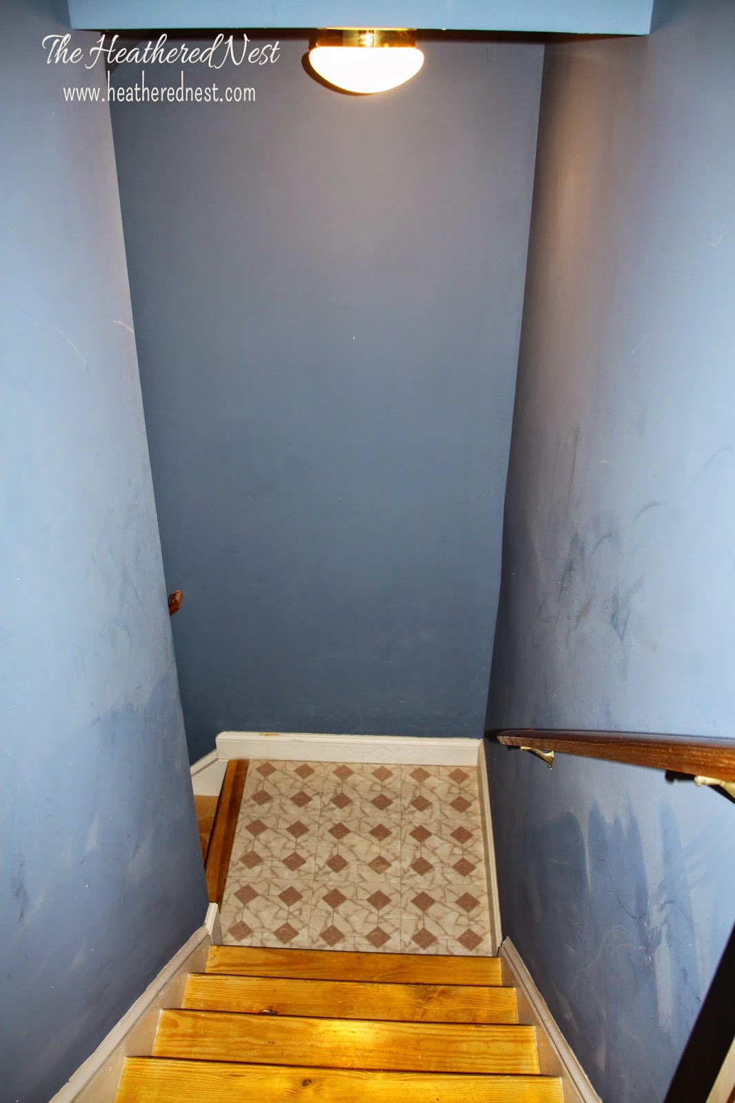 Basement Stair Ceiling Lighting: Brightened Up Basement Stairway Reveal