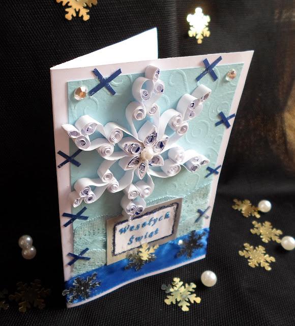 Kartki świąteczne śnieżynka DIY