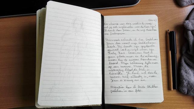Opengeslagen notitieboekje met overweging Ignatiaans bidden in de vastentijd. Links een potloodtekening van het beeld.