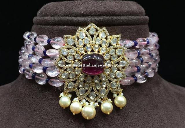 Pink Sapphire Beads Choker