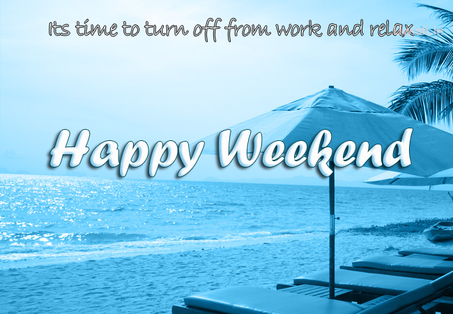 Happy weekend e greeting cards and wishes in beach