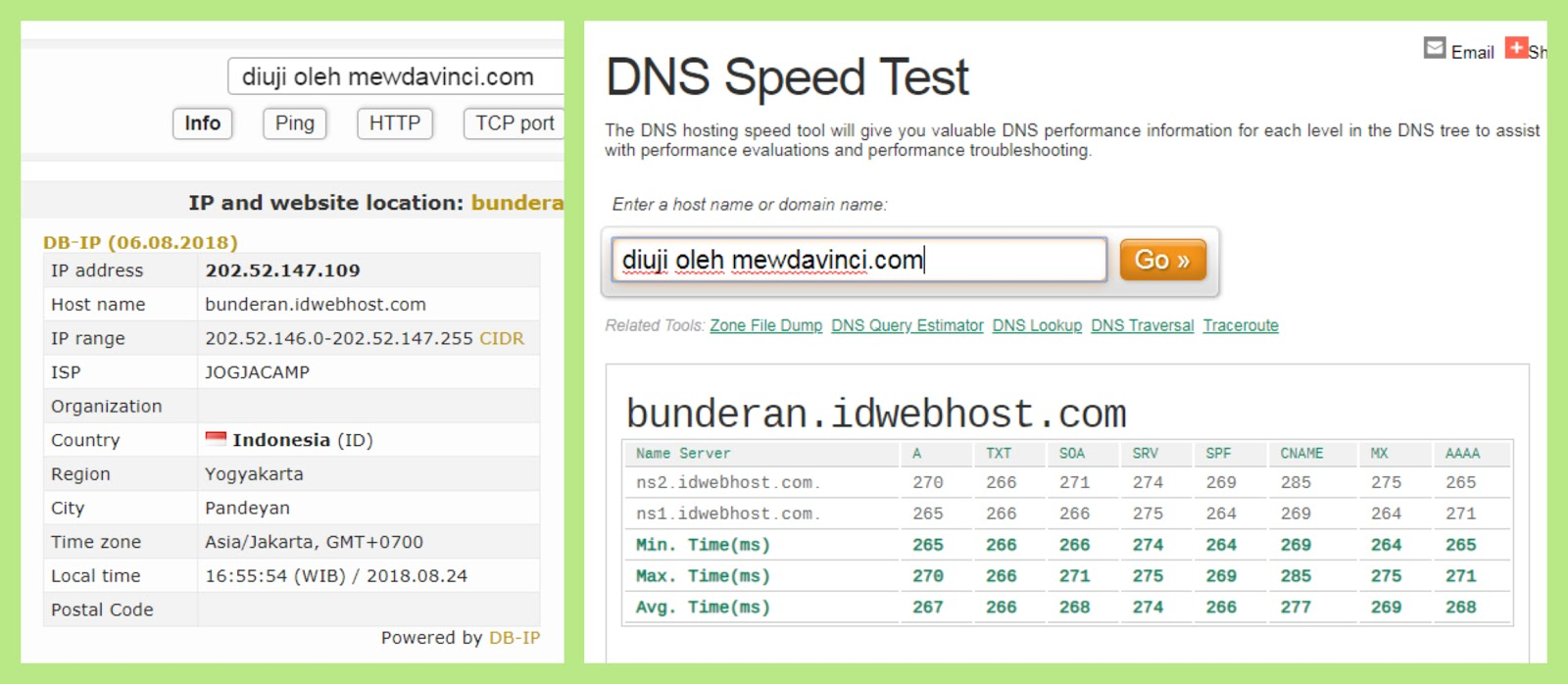 Server hosting speed test IDwebhost