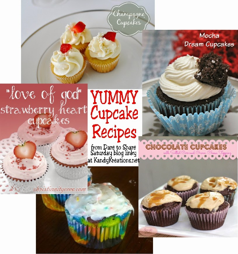 Enjoy the long days of January with 5 yummy cupcake recipes straight from our Dare to Share Saturday blog linky party.  These recipes will make the winter feel like a party with flavors such as Champagne, Mocha Dream and Salted Caramel.