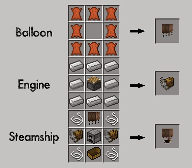 SteamShip Mod Minecraft craftings