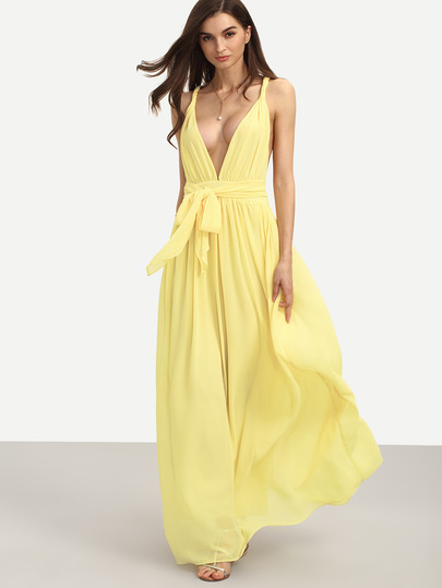 http://www.shein.com/Yellow-Sleeveless-V-Neck-Tie-Waist-Maxi-Dress-p-288093-cat-1727.html