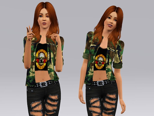 Sims 3 Shanna Sims Gun's and Roses t-shirt and Jacket