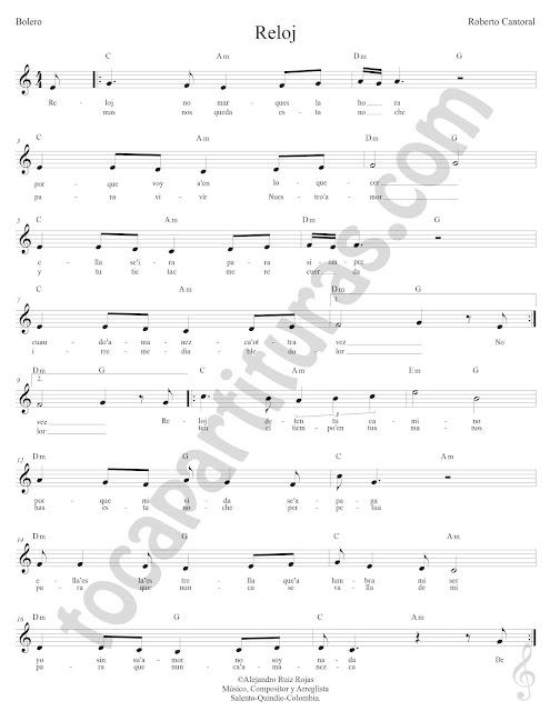 El Reloj de Roberto Cantoral Partitura con Acordes El Reloj Sheet Music with Chords