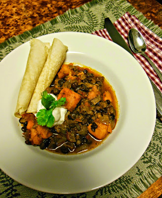 Chili with black beans and sweet potato