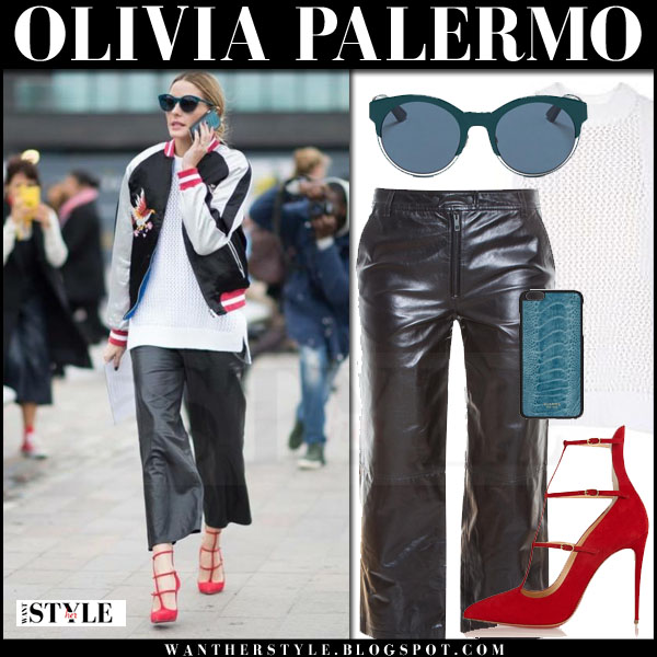 Olivia Palermo in bomber topshop jacket, black leather rag bone cropped pants and red suede pumps london what she wore