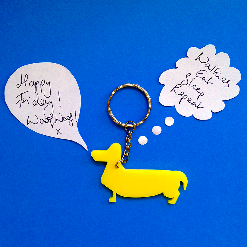 Dachshund key ring by Adventures & Tea Parties. Great dog themed key chain for dog lovers and sausage dog owners. Available at Etsy: https://www.etsy.com/shop/Adventuresteaparties?section_id=18554798