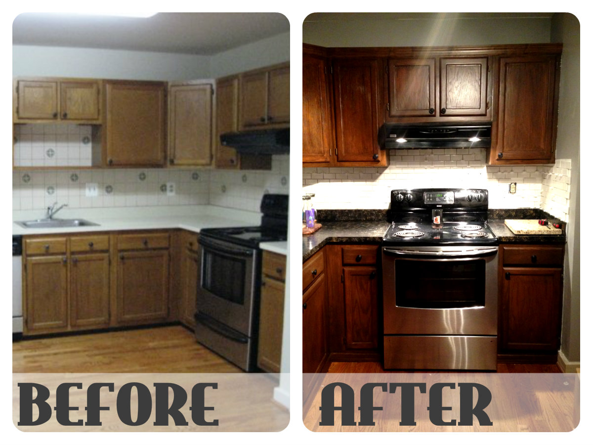 Restaining Kitchen Cabinets Before And After Ask Home Design