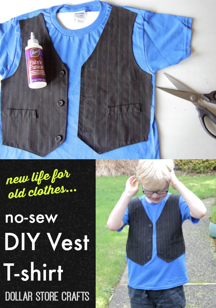 Give new life to old kids' clothes -- No-sew Vest T-shirt