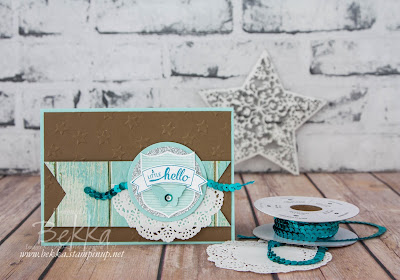 Butterfly Little Hello and A Quick Tip For Using Sequin Trim from Stampin' Up! UK Demo Bekka Prideaux