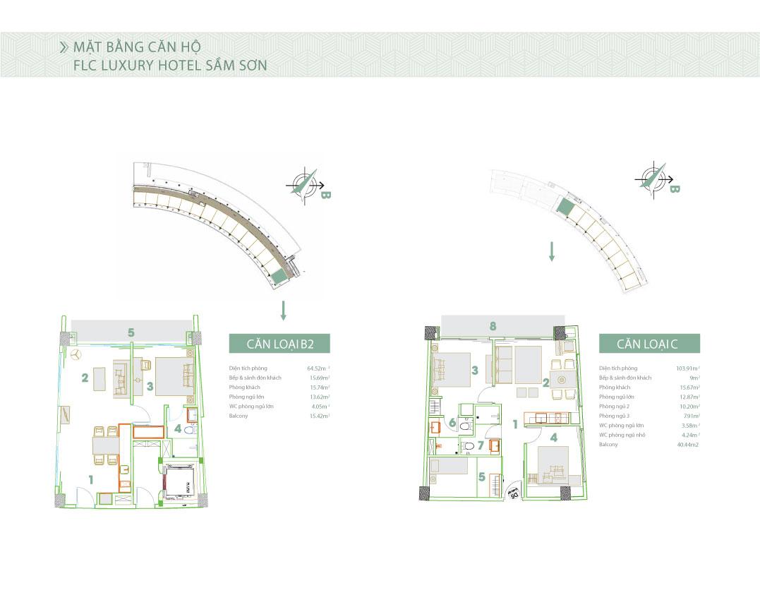 Mặt bằng thiết kế căn hộ loại B2 và C FLC Luxury Hotel Sầm Sơn