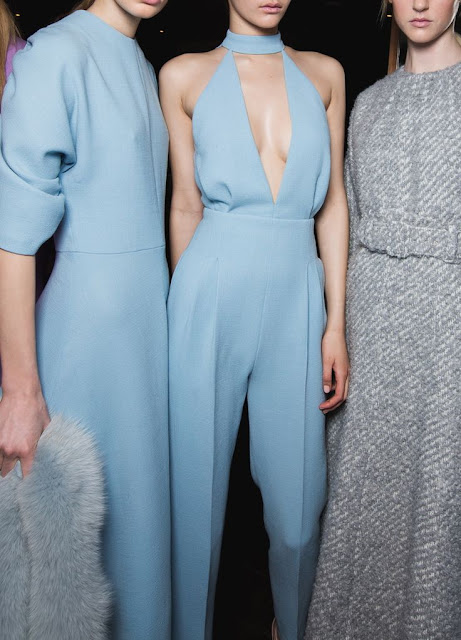 Cool Chic Style Fashion : Pale Blue Emilia Wickstead AW15 backstage