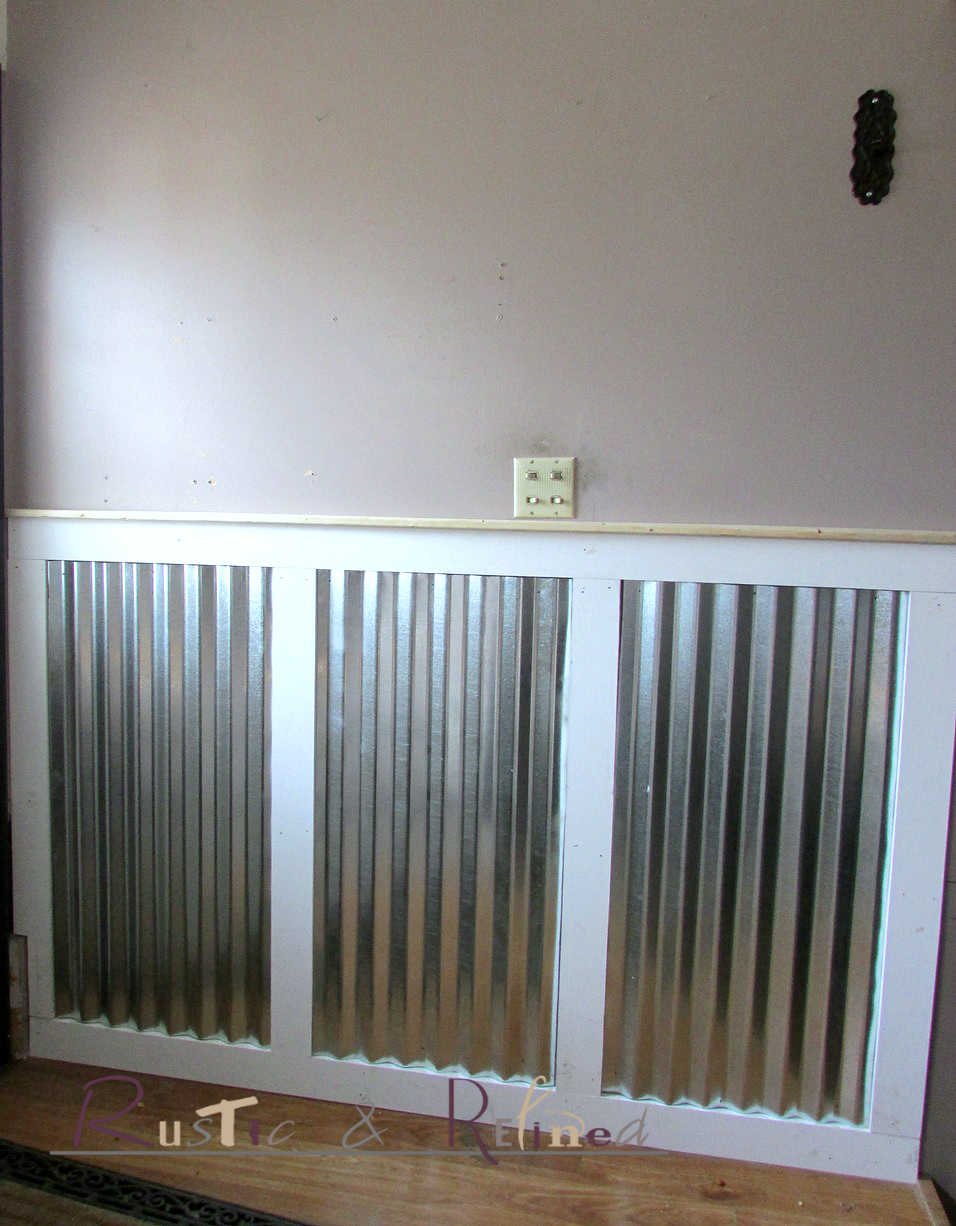 Adding galvanized tin as wainscoting rustic refined for Metal wainscoting ideas