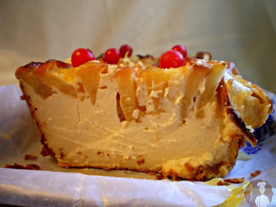 Pastel de quesitos con manzanas