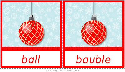 ESL Christmas flashcards, Christmas ball, bauble
