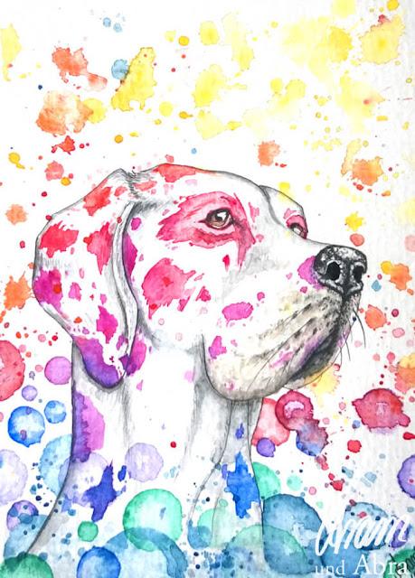 Regenbogendogge, Aquarell, DIN A6