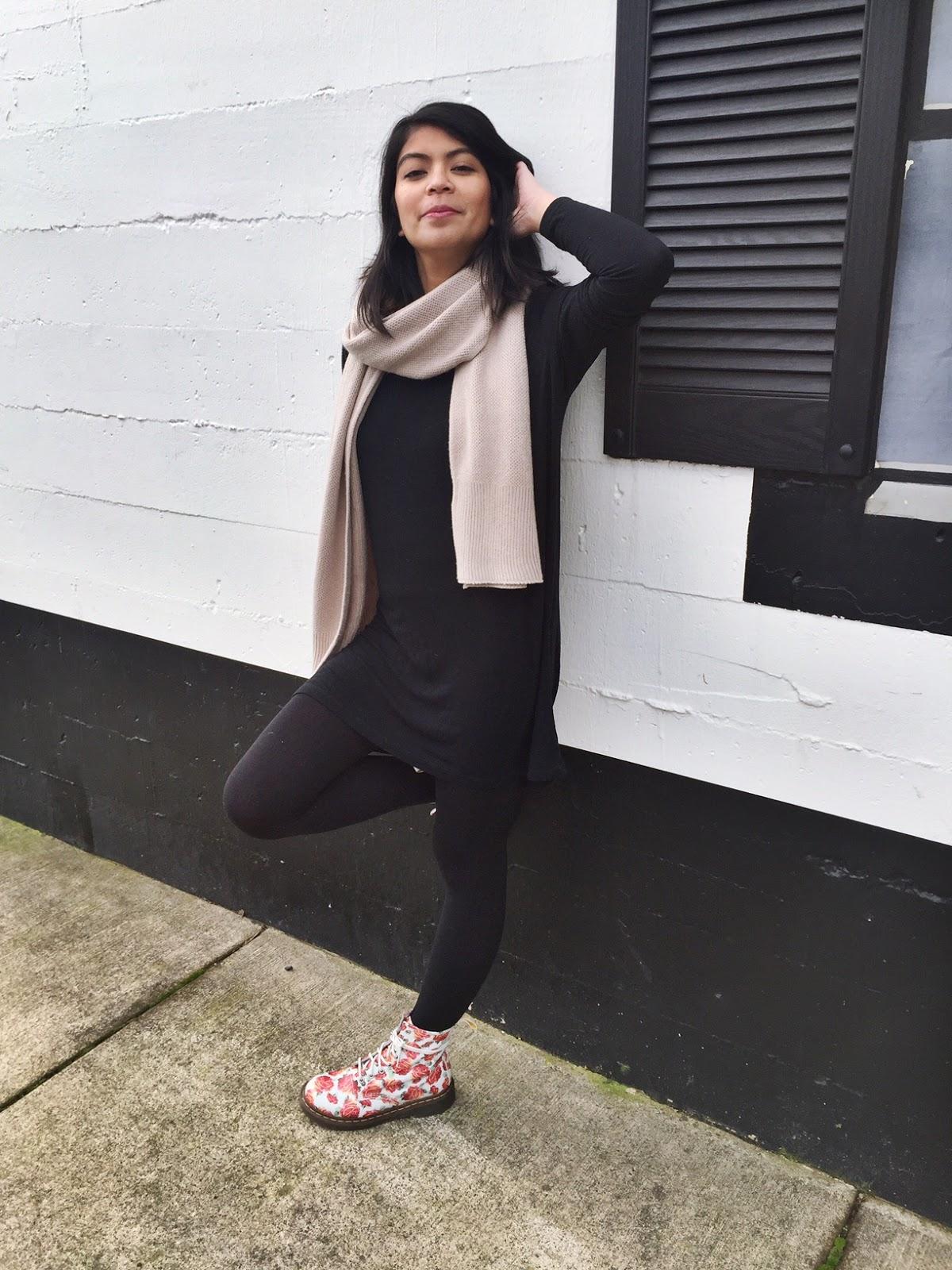 black tunic dress, brandy melville, black leggings, old navy, camel scarf, floral doc martens, dr. martens, floral boots, ootd, fashion blogger, pdx fashion blogger, portland fashion blogger