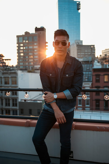 Men's Summer Style, Denim Jacket, Double Denim, Day to Night, The Express Life, Prada Sunglasses, Sel Rose