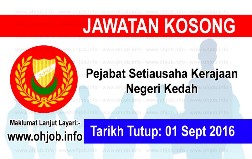 Jawatan Kerja Kosong Pejabat Setiausaha Kerajaan Negeri Kedah logo www.ohjob.info september 2016