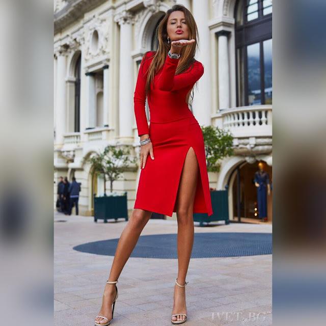 Μακρυμάνικο  μεσάτο κόκκινο φόρεμα VISTA RED