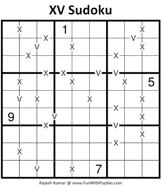 XV Sudoku Puzzle (Fun With Sudoku #262)