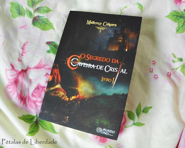 """capa, Resenha, livro, """"O segredo da caveira de cristal"""", Mallerey Cálgara, opinião, literatura nacional"""
