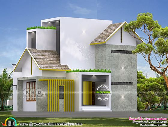 Unique mixed roof Kerala home 1300 square foot