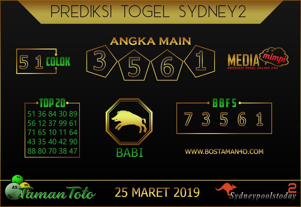 Prediksi Togel SYDNEY2 TAMAN TOTO 25 MARET 2019