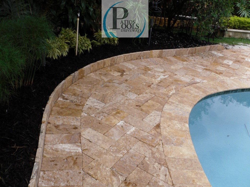 Travertine And Concrete Pavers For The Driveway Patio