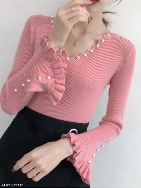 V-Neck Beading Plain Long Sleeve Sweaters Pullover - FashionMia Special Price:US$20.95