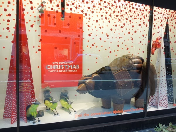 Peter Jones Bear and Hare Christmas window display