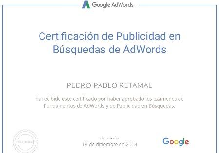 Certificación de Google Adwords en Red de Búsquedas