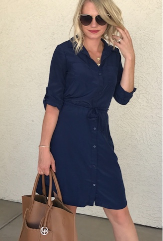 Thrifty Wife, Happy Life || Blue shirt dress || Teacher outfit