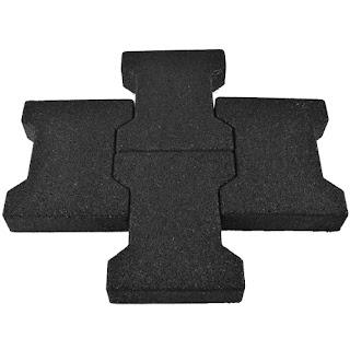 Greatmats Dog Bone Pavers black rubber pool deck tiles