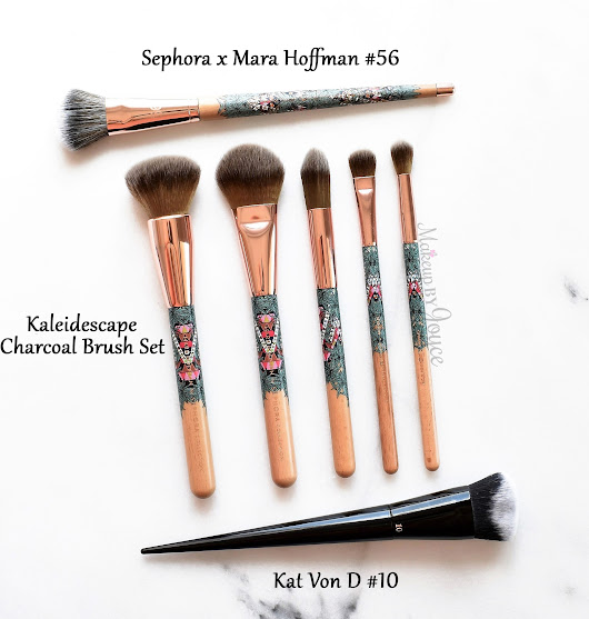 Review + Comparisons: Sephora Mara Hoffman Kaleidescape Charcoal Brush Set, Pro Flawless Airbrush 56 + Kat Von D Lock-It Edge Foundation Brush