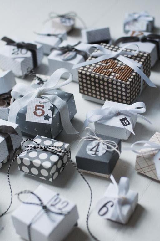 kalendarz adwentowy pudełka, wstążki