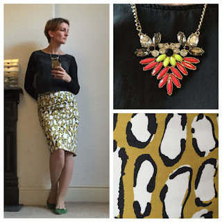 Boden Print skirt Warehouse statement necklace