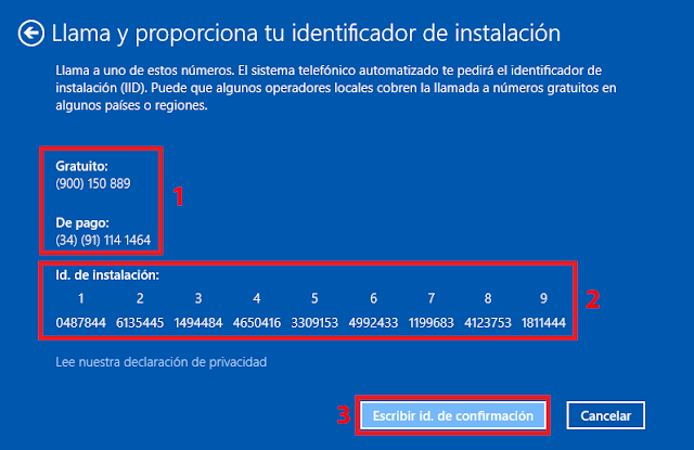 Identificador de instalación de Windows 10.