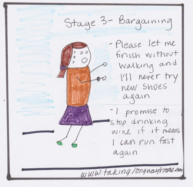 Stage 3: bargaining. please let me finish without walking and I'll never try new shoes again. I promise to stop drinking wine if it means I can run fast again