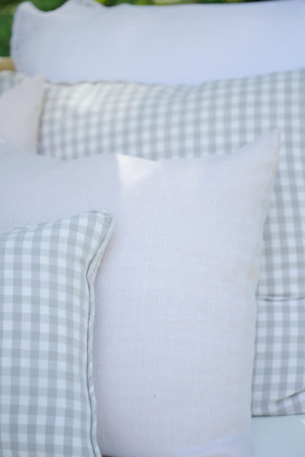 checked and linen pillows