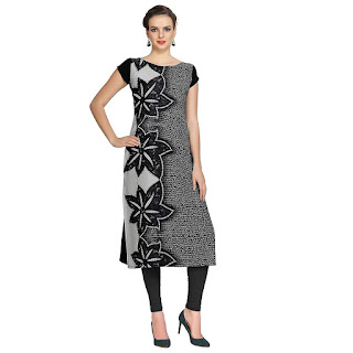 Ziyaa Black Mix Digital Print Kirti by FashionDiya