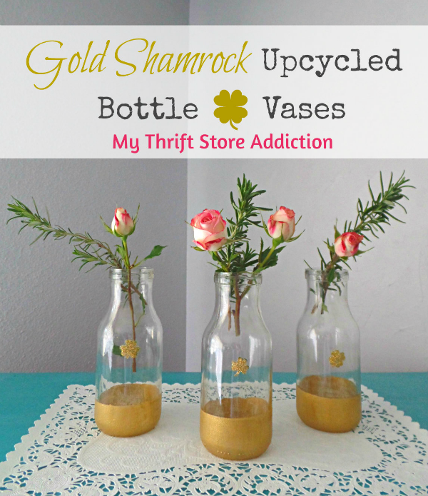 Vintage Charm Party 20 mythriftstoreaddiction.blogspot.com Feature: Upycycled Gold Shamrock Bottle Vases