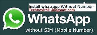 Register Whatsapp Without Mobile Number 100% workin
