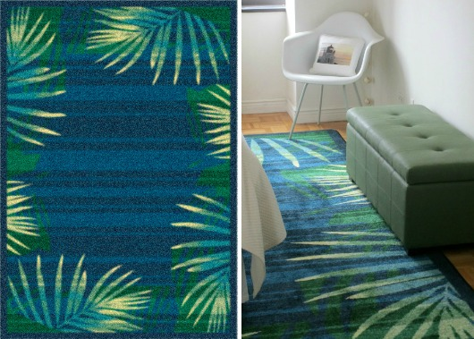 Blue And Green Palm Rug For The Bedroom Coastal Decor