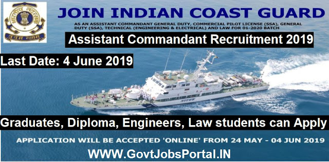 Indian Coast Guard Assistant Commandant Recruitment 2019