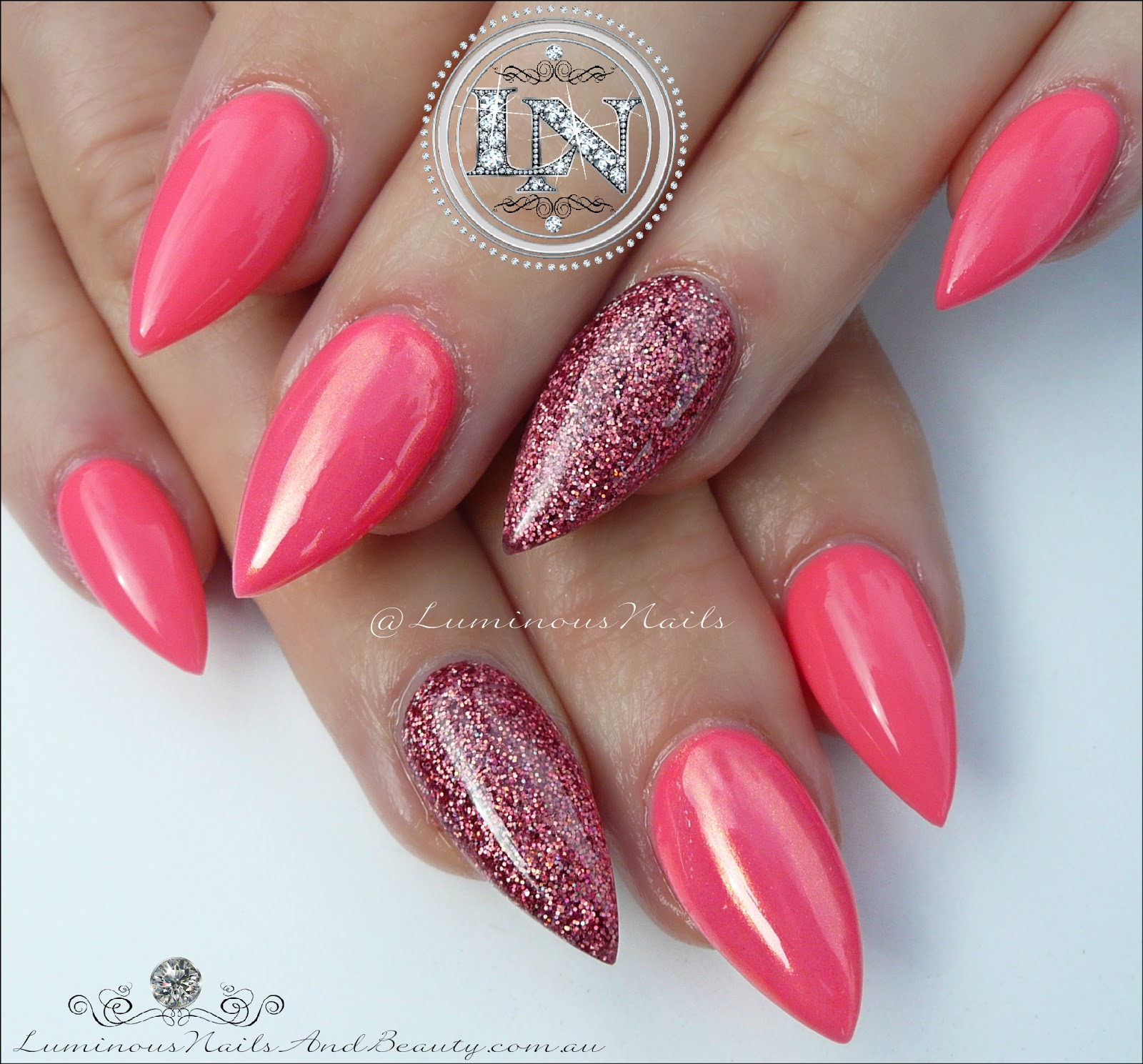 Luminous Nails: Gorgeous Coral & Glittery Rose Pink Glitter Acrylic ...